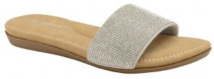 Dunlop Womens Eleanor Silver Slide Sandals